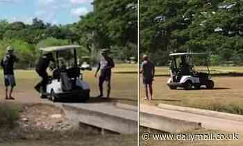 Bizarre moment Cop commands a golf buggy to chase an armed suspect