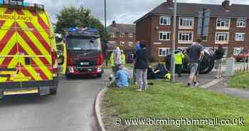 Two women taken to hospital after Ford KA flips in Walsall smash - Birmingham Live