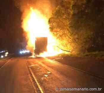 Carreta pega fogo na ERS-446, em Carlos Barbosa - jornalsemanario.com.br