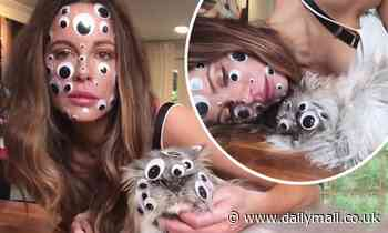 Kate Beckinsale sticks 'googly eyes' all over herself and cat Clive and blasts out Britney Spears - Daily Mail