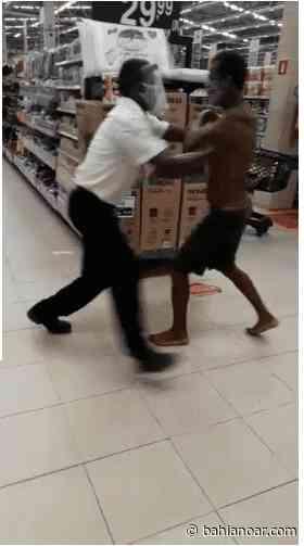 Vídeo: Homem tenta esfaquear segurança de supermercado em Itaparica - bahianoar.com