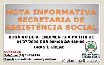 Nota Informativa: Prefeitura de Rolim de Moura informa que CRAS e CREAS passa funcionar em novo horário - Planeta Folha