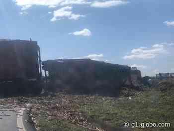 Caminhão com cana-de-açúcar tomba em retorno de rodovia de Tanabi - G1