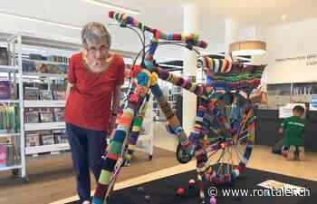 Kunstobjekt Strickvelo in der Bibliothek - - rontaler