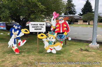 Thief steals Knuckles character from display outside Ladysmith Community Health Centre - vancouverislandfreedaily.com
