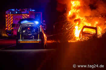 Minivan bei Oberursel brennt lichterloh: Polizei vermutet Straftat - TAG24