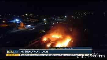 Incêndio atinge depósito de materiais de construção em Matinhos - G1