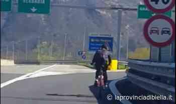 Va tranquillamente in bicicletta in autostrada, ciclista fermato a Borgomanero dalla Polizia - La Provincia di Biella