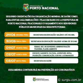 Prefeitura de Porto Nacional alterna dias de pagamento dos servidores para evitar aglomerações - Surgiu