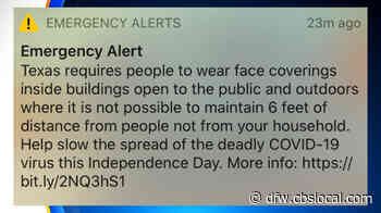 Dallas Issues Mask Emergency Alert To Residents - CBS Dallas / Fort Worth