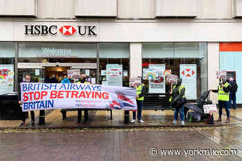 Watch: Protesters against British Airways job cuts target York bank - YorkMix