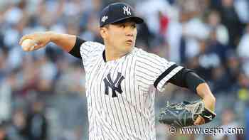 Yanks' Tanaka struck in head by Stanton line drive