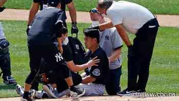 Yankees' Masahiro Tanaka hit in head by Giancarlo Stanton line drive