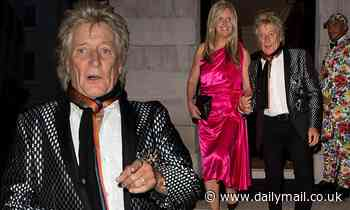 Rod Stewart, 75, and wife Penny Lancaster, 49, get glammed up as they head for a night out in London
