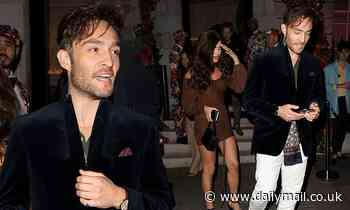 Ed Westwick enjoys a night out with his leggy girlfriend Tamara Francesconi on Super Saturday