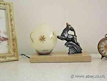 French Art Deco Gazelle Lamp Beige Marble Base & Decorative Glass Shade 2057