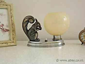 French Art Deco Squirrel Lamp Metal Base & Cream Opaline Glass Shade 2057
