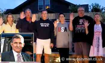 General Michael Flynn leads friends in reciting oath to Constitution and QAnon slogan on July 4th
