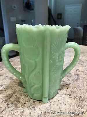 Mint Marked Higbee Green Jadeite Glass Spooner Thistle Design Celery Vase Bee