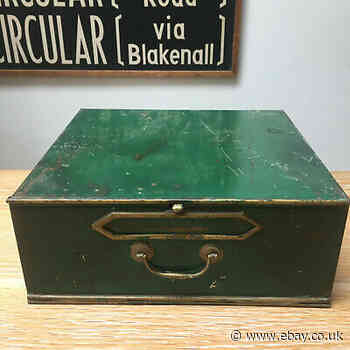 VINTAGE FRENCH METAL DEED BOX BRASS HANDLE STORAGE MINISTERIAL DOCUMENT FILE