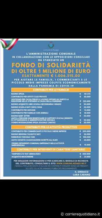 Assago: Fondo di Solidarieta' di oltre 1 milione di euro per aiutare commercianti, famiglie ed imprese del proprio territorio - Corriere Quotidiano