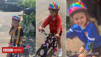 Girl praised by David Beckham sets new 100-day charity cycling goal