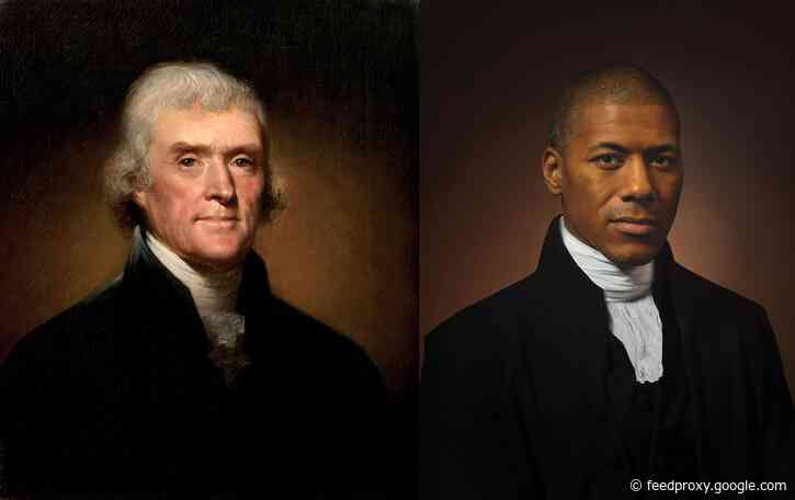 Shannon LaNier Poses as His Sixth Great-Grandfather Thomas Jefferson: Two Portraits Juxtaposed