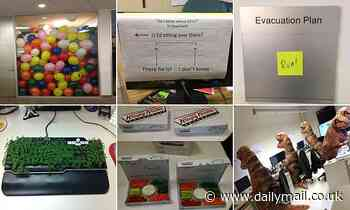Social media users share hilarious pranks they've played on their work colleagues - Daily Mail