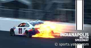 Hamlin crashes out of the lead at Indianapolis - Yahoo Sports