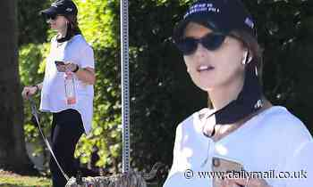 Katherine Schwarzenegger displays her baby bump while on a stroll with her dog  in LA