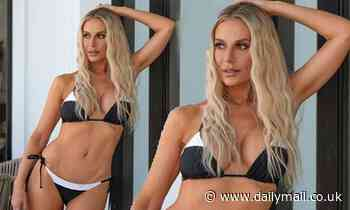 Dorit Kemsley, 43, of RHOBH shows off a very toned tummy as she plugs her Beverly Beach swimwear