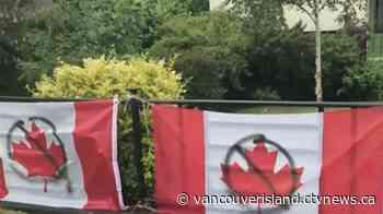Vandals deface Victoria man's Canada Day flag display - CTV News VI