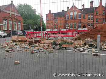 Brick wall collapses at town centre car park - This Is Wiltshire