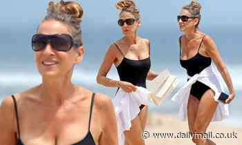 Sarah Jessica Parker, 55, shows off figure in black swimsuit - Daily Mail