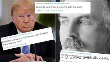 US President Donald Trump causes outrage by claiming US split the atom, invented telephone, won both World Wars - Newshub