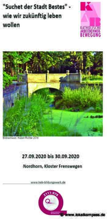 Vom 27. bis 30. September durchatmen in der Wasserstadt Nordhorn/ Anmeldung bis 19. Juli 2020: KAB Niederrhein bietet Auszeit aus dem Alltag - nicht nur für aktiven Senioren - Lokalkompass.de