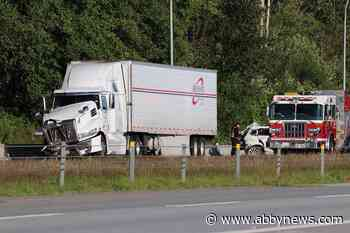 Semi and BMW collide on South Surrey highway - Abbotsford News
