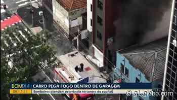 Carro pega fogo dentro de garagem de prédio no Centro de Curitiba - G1