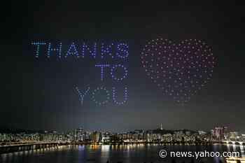 Hundreds of drones light up Seoul night sky with coronavirus advice