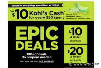 Kohl's Epic Deals through TODAY, July 5: $7.65 Beach Towels, $4.99 tees, 50% off sandals, 80% off... - WRAL.com