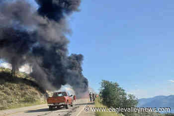 Anarchist Mountain Fire Department extinguishes 'flaming river' on Highway 3 - Sicamous Eagle Valley News