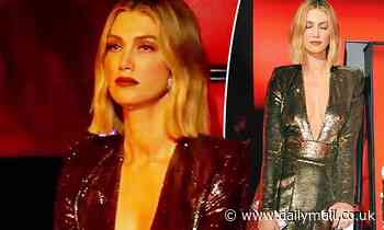 The Voice coach Delta Goodrem goes braless beneath a plunging gold mini dress - Daily Mail