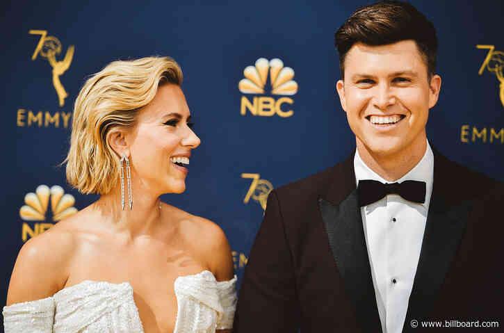 Colin Jost Blames Fiancée Scarlett Johansson for 'Perfectly Framed' Guitar in 'SNL' Weekend Update
