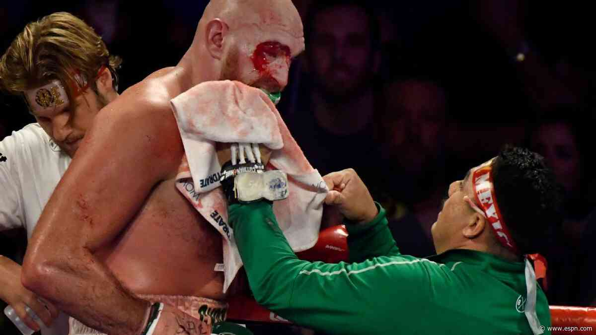 Tyson Fury gives assistance to his Otto Wallin fight cutman during coronavirus pandemic