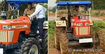 Mahendra Singh Dhoni buys the most expensive Swaraj tractor for his farm; Drives it around [Video] - CarToq.com