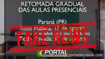 Data de retorno às aulas nas escolas estaduais em Umuarama não está definida - ® Portal da Cidade | Umuarama