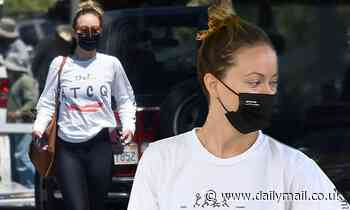 Olivia Wilde pairs a vintage hip hop T-shirt with leggings to run errands in Los Angeles - Daily Mail