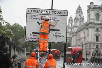 Greenpeace change Westminster road signs so that all roads lead to a 'Green Recovery' - London Post