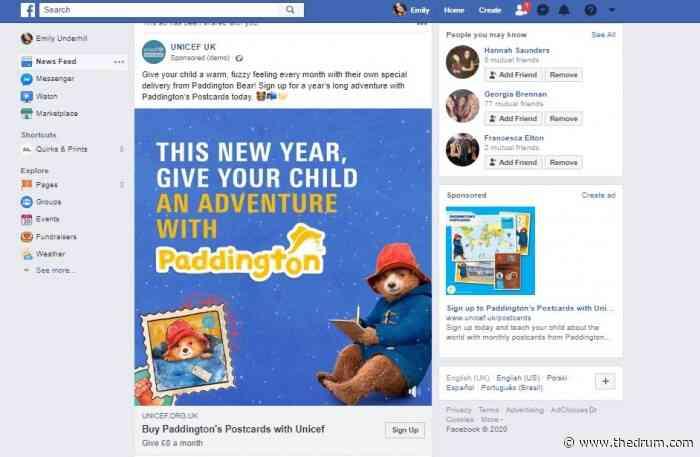 Unicef UK leveraged paid social to promote Paddington's Postcards