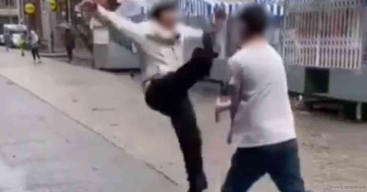 Video shows moment two men engage in hilarious karate 'fight' in Dublin City Centre - Dublin Live